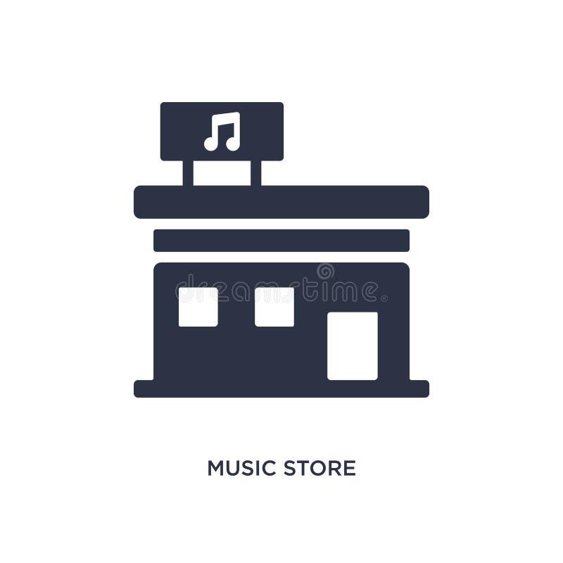 ícone da loja da música no fundo branco Ilustração simples do elemento do conceito da música ilustração do vetor
