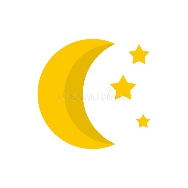 Ícone da lua e das estrelas, estilo liso ilustração do vetor