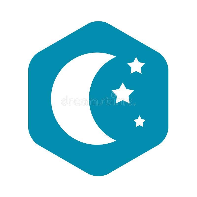 Ícone da lua e das estrelas, estilo simples ilustração do vetor
