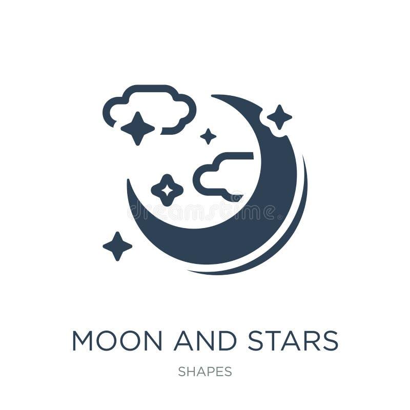 ícone da lua e das estrelas no estilo na moda do projeto Ícone da lua e das estrelas isolado no fundo branco ícone do vetor da lu ilustração royalty free