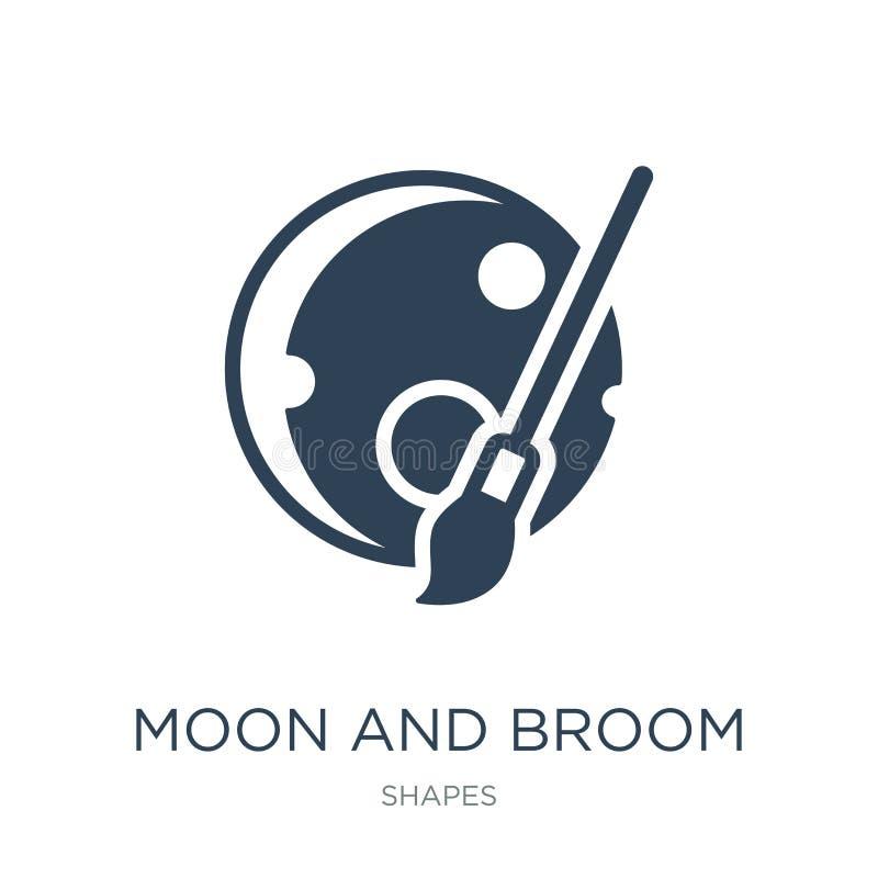 ícone da lua e da vassoura no estilo na moda do projeto ícone da lua e da vassoura isolado no fundo branco ícone do vetor da lua  ilustração royalty free