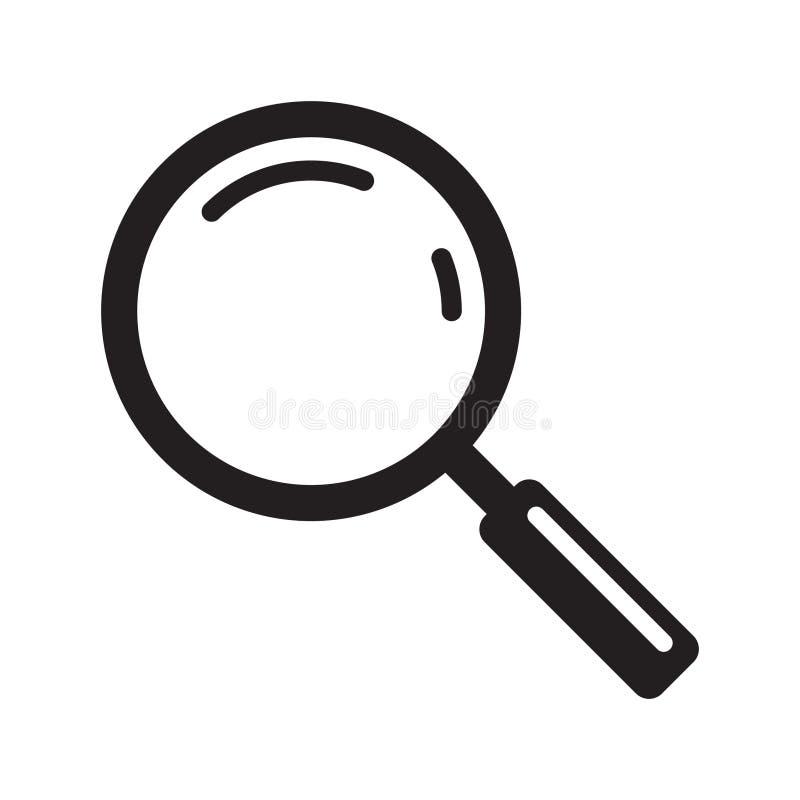 Ícone da lupa, lente de aumento do vetor ou sinal da lupa ilustração stock