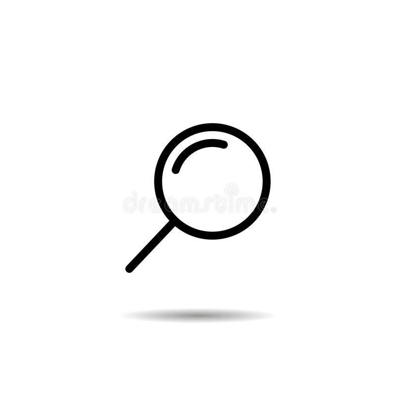Ícone da lupa ou da busca, ilustração isolada lisa EPS10 do gráfico de vetor ilustração stock