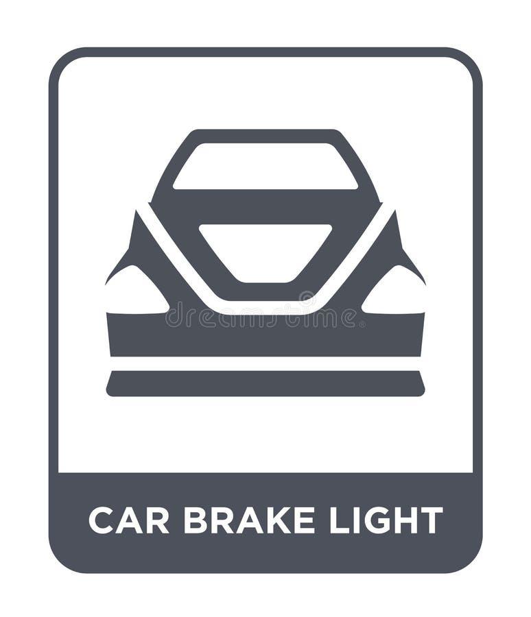 ícone da luz de freio do carro no estilo na moda do projeto ícone da luz de freio do carro isolado no fundo branco ícone do vetor ilustração royalty free