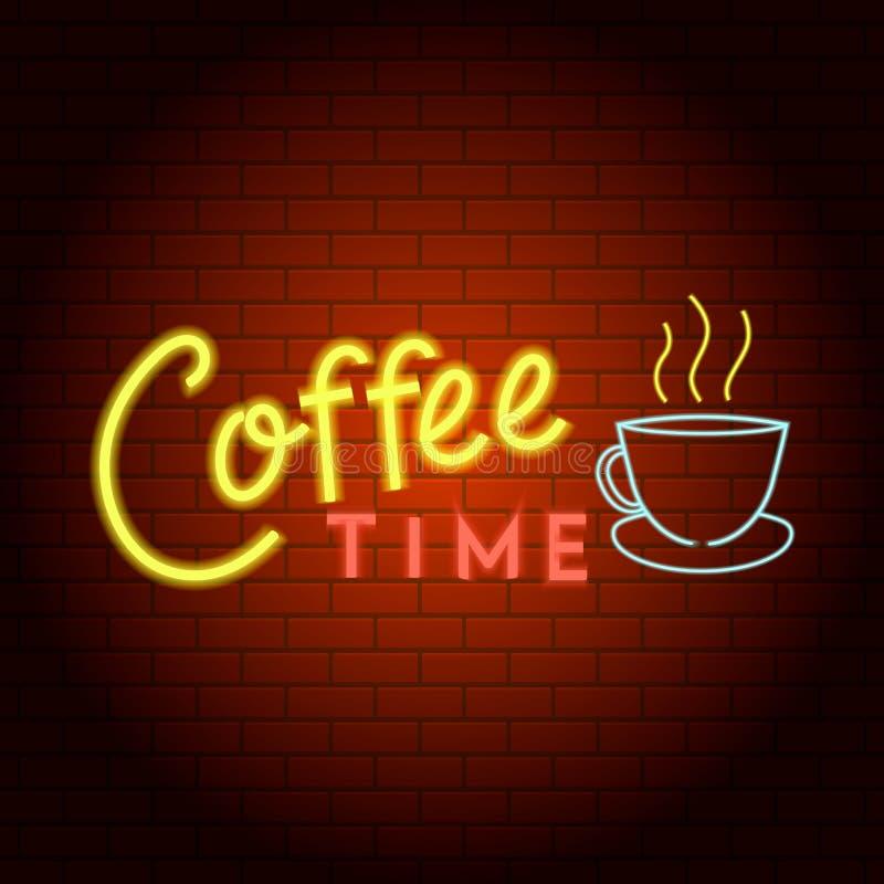 Ícone da luz de néon do logotipo do tempo do café, estilo realístico ilustração royalty free