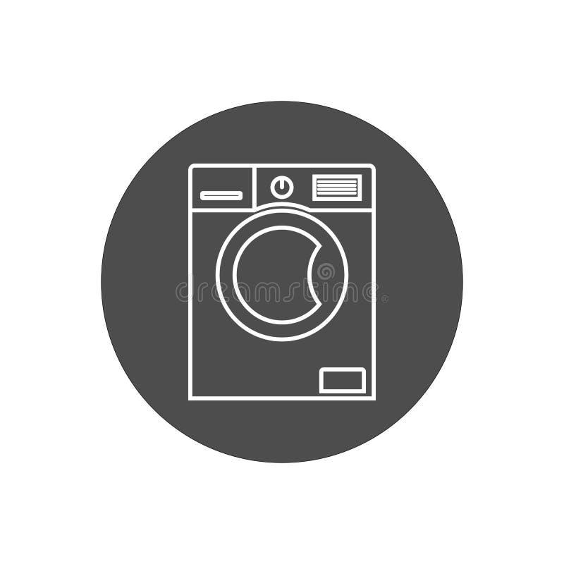 Ícone da máquina de lavar Ilustração do vetor, projeto liso ilustração do vetor