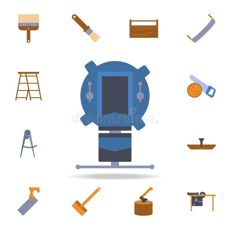ícone da máquina de trituração do manual da cor Grupo detalhado de ferramentas da construção da cor Projeto gráfico superior Um d ilustração royalty free