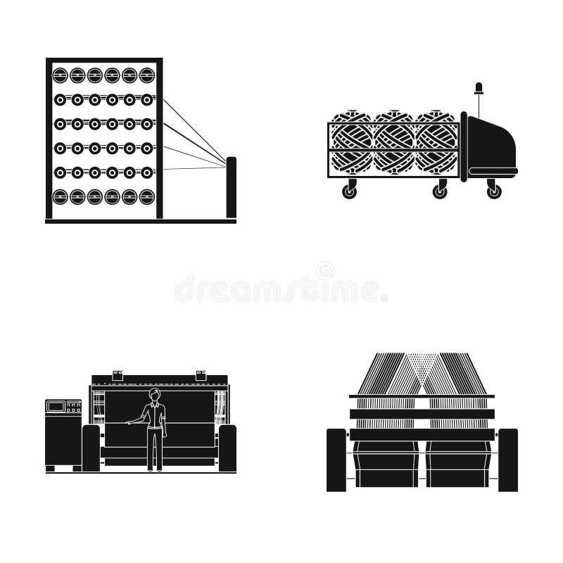 Ícone da máquina, do equipamento, do giro, e o outro da Web no estilo preto , Dispositivos, inventário, ícones de matérias têxtei ilustração royalty free