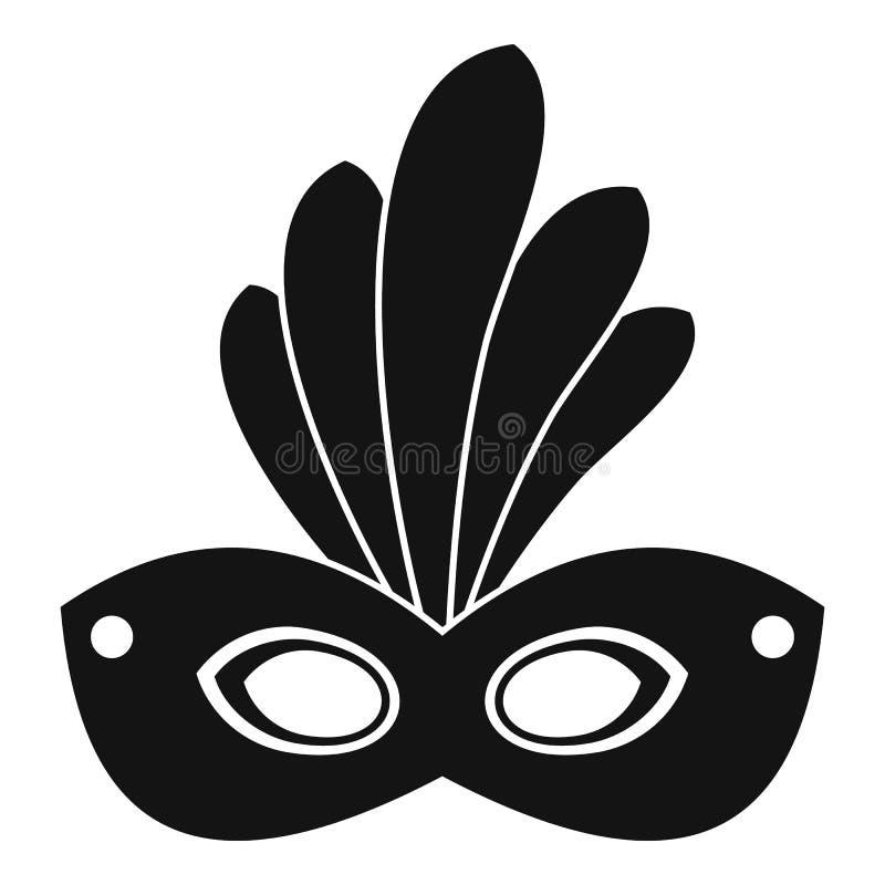 Ícone da máscara do carnaval de Brasil, estilo simples ilustração stock