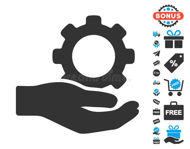 Ícone da mão da engrenagem do serviço de engenharia com bônus livre ilustração stock