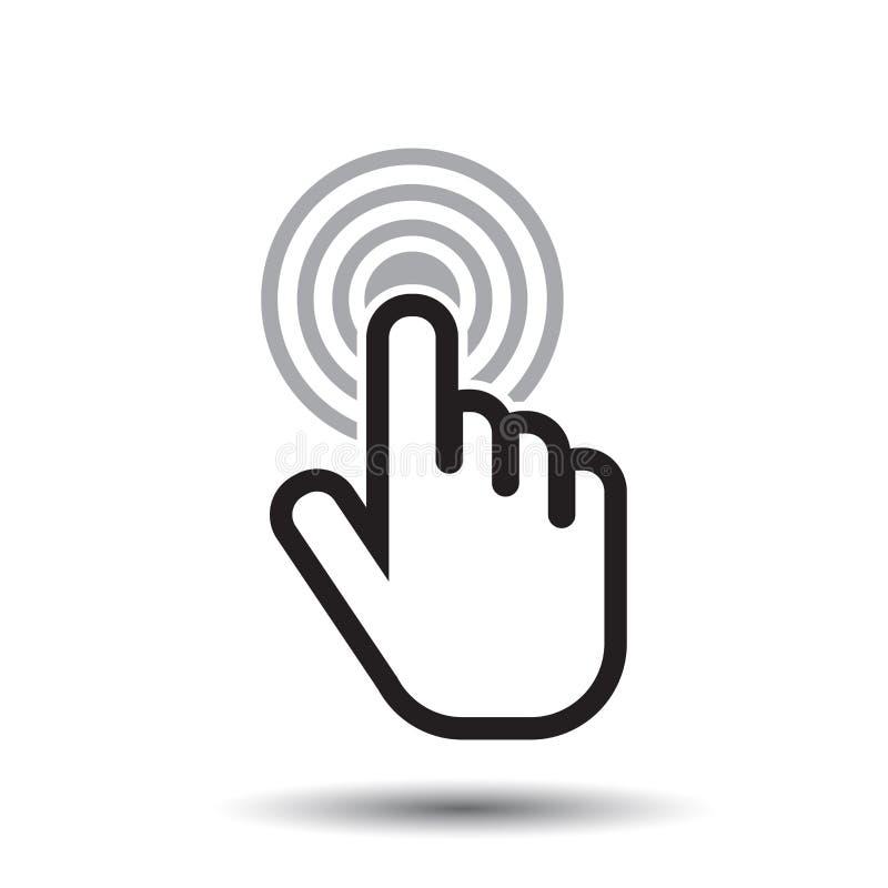 Ícone da mão do clique Vetor liso do sinal do dedo do cursor foto de stock