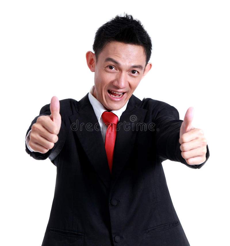 Ícone da mão do homem de negócio como e sorriso no fundo branco imagem de stock
