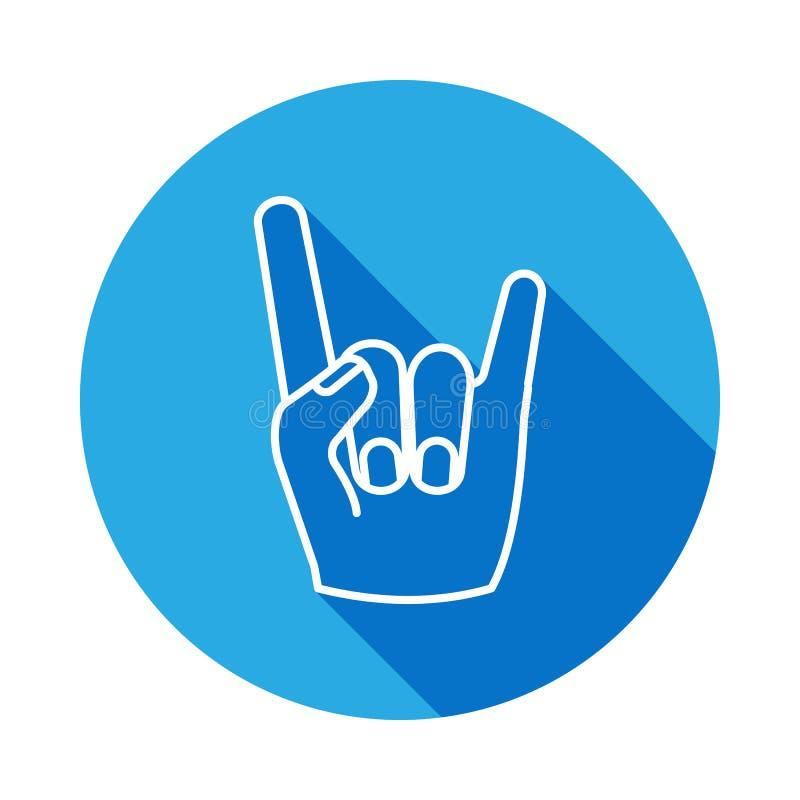 Ícone da mão do rock and roll com sombra longa Ícone tirado mão do sinal da mão do rock and roll com sombra longa Esboço do sinal ilustração royalty free