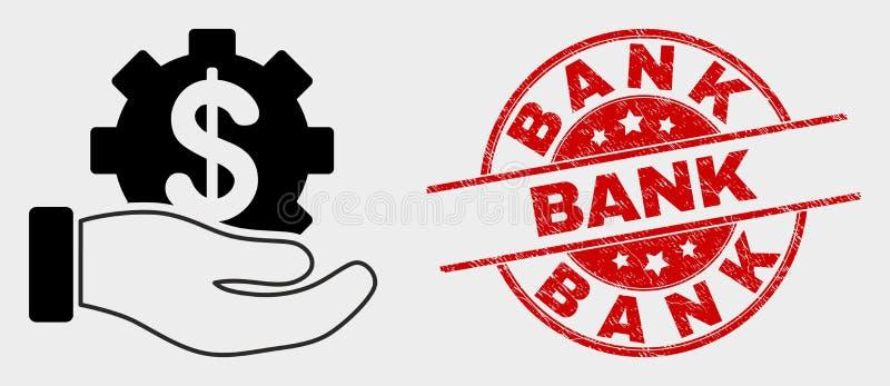 Ícone da mão do serviço de banco do vetor e selo de banco riscado ilustração royalty free