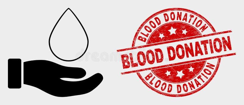 Ícone da mão da doação de sangue do vetor e selo da doação de sangue da aflição ilustração royalty free