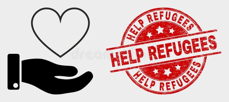 Ícone da mão da doação do coração do vetor e selo dos refugiados da ajuda do Grunge ilustração royalty free