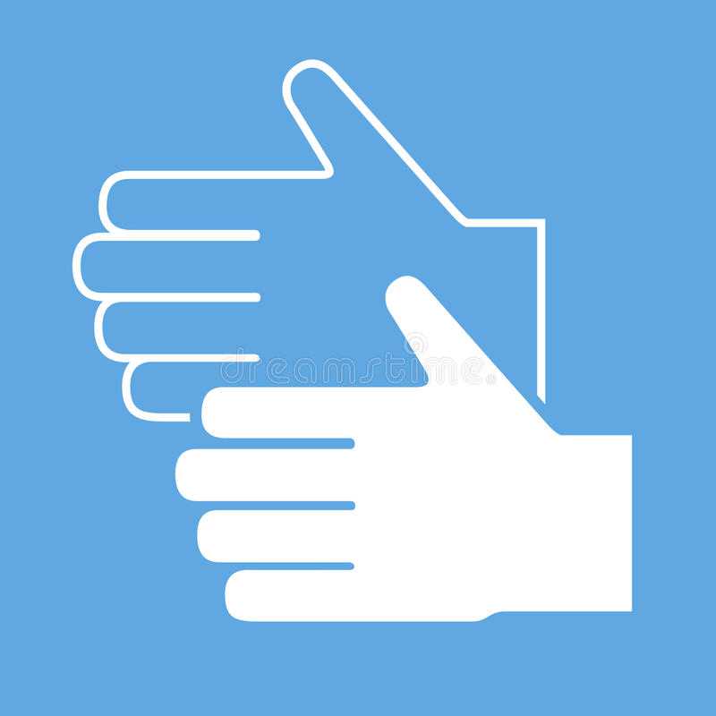 Ícone da mão e da luva, sinal do vetor ilustração stock