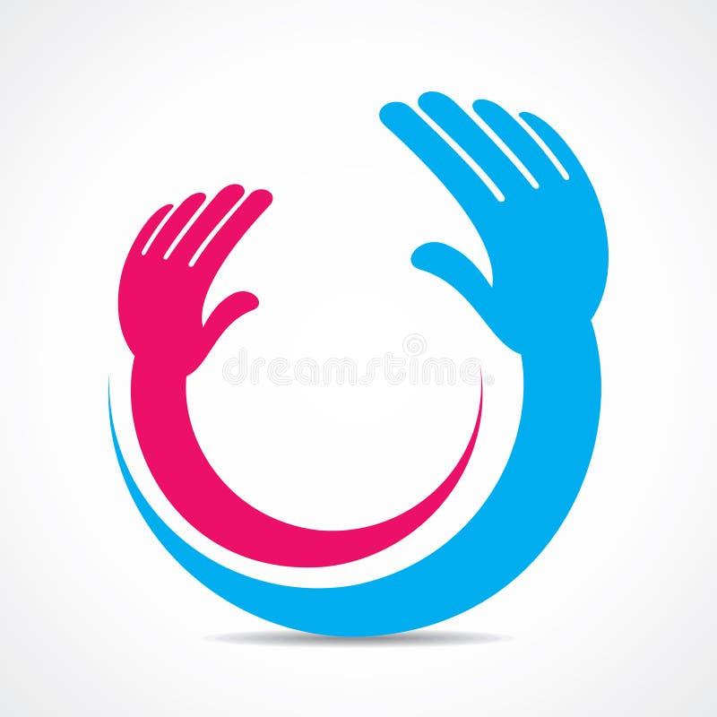 Ícone da mão ou conceito criativo do símbolo ilustração do vetor