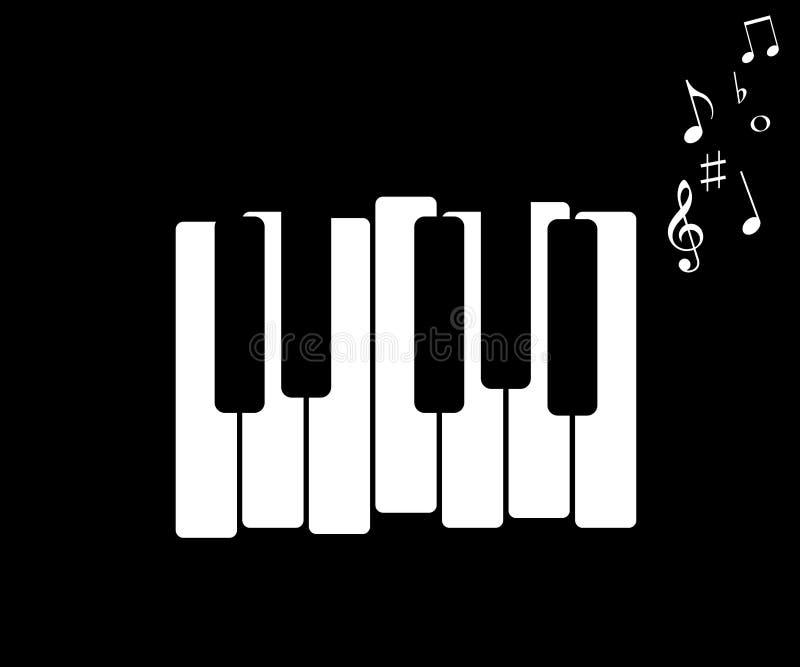 Ícone da música, com piano e notas musicais ilustração royalty free