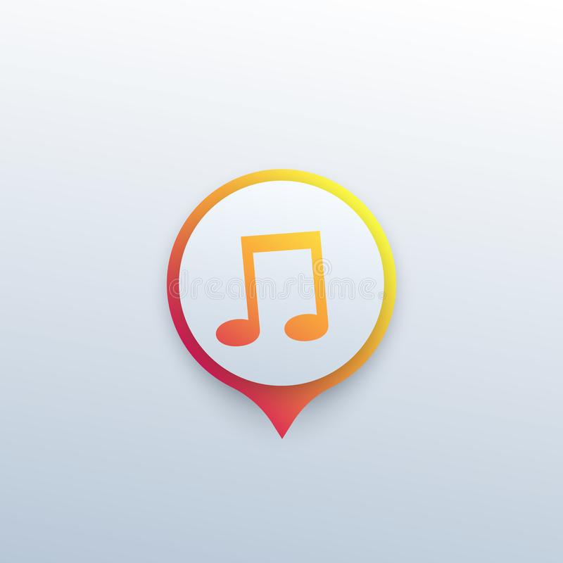 Ícone da música, marca do vetor para apps ilustração royalty free