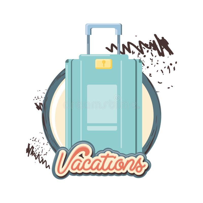 Ícone da mala de viagem das férias do curso ilustração stock