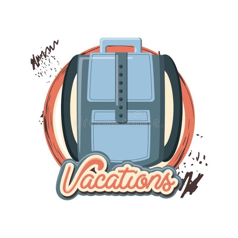 Ícone da mala de viagem das férias do curso ilustração do vetor
