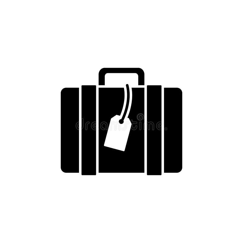 Ícone da mala de viagem ícone do vetor da bagagem do curso Logotipo liso da mala de viagem isolado no fundo branco Ilustração do  ilustração do vetor