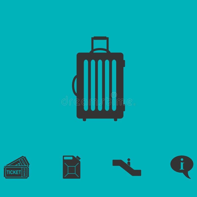 Ícone da mala de viagem liso ilustração do vetor