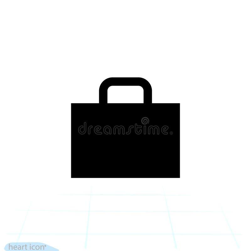 Ícone da mala de viagem Vetor da bagagem do negócio do curso Logotipo liso isolado no fundo claro Ilustração ilustração stock