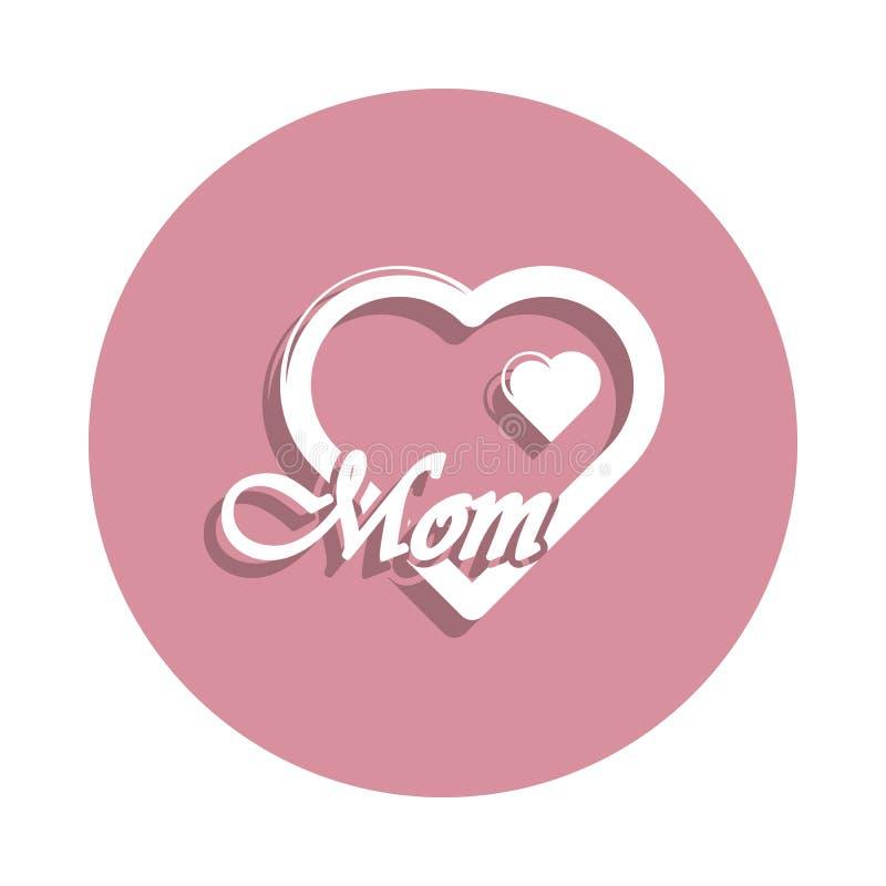 ícone da mamã do coração eu te amo no estilo do crachá Um do ícone da coleção do dia da mãe pode ser usado para UI, UX ilustração royalty free