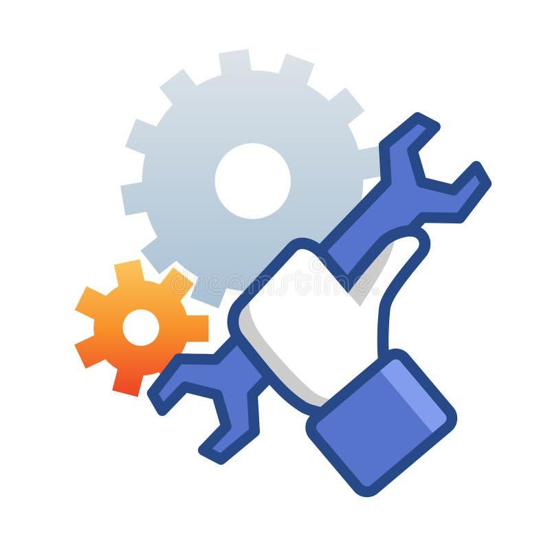Ícone da manutenção com chave da mão ilustração stock