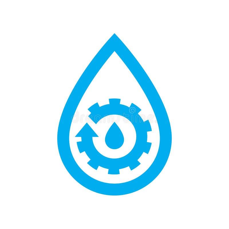 Ícone da manutenção do encanamento da água Roda denteada azul da engrenagem no sym da gota da água ilustração do vetor