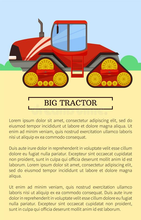 Ícone da maquinaria agrícola, bandeira do vetor dos desenhos animados ilustração do vetor