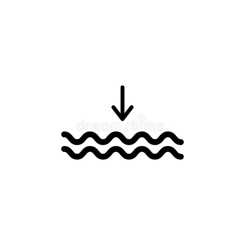 Ícone da maré baixa Elemento da ilustração do tempo Os sinais e os símbolos podem ser usados para a Web, logotipo, app móvel, UI, ilustração royalty free