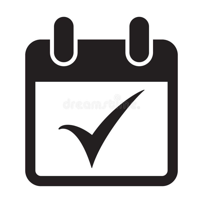 Ícone da marca de verificação do calendário ilustração do vetor