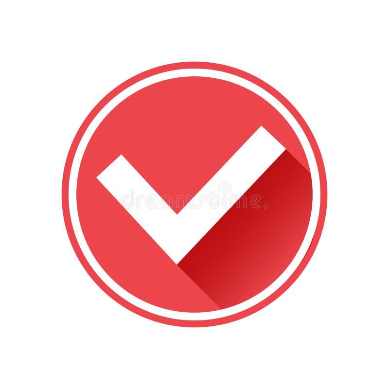 Ícone da marca de verificação do tiquetaque Sinal branco no botão vermelho Vetor ilustração stock