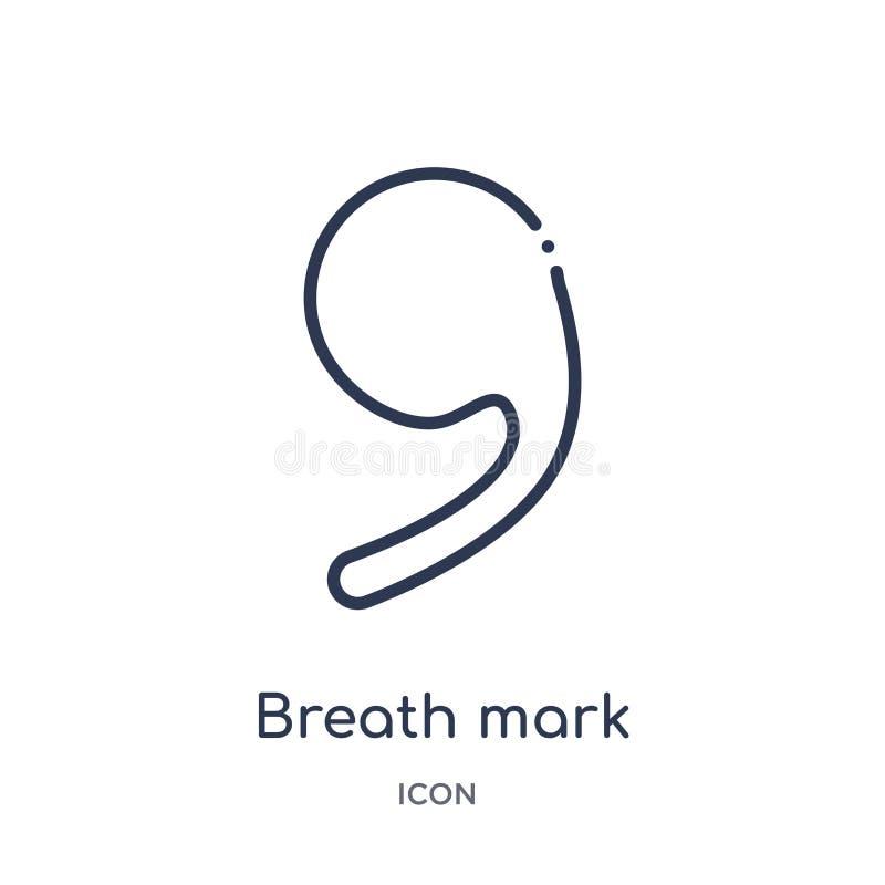 Ícone da marca da respiração da música e da coleção do esboço dos meios Linha fina ícone da marca da respiração isolado ilustração royalty free