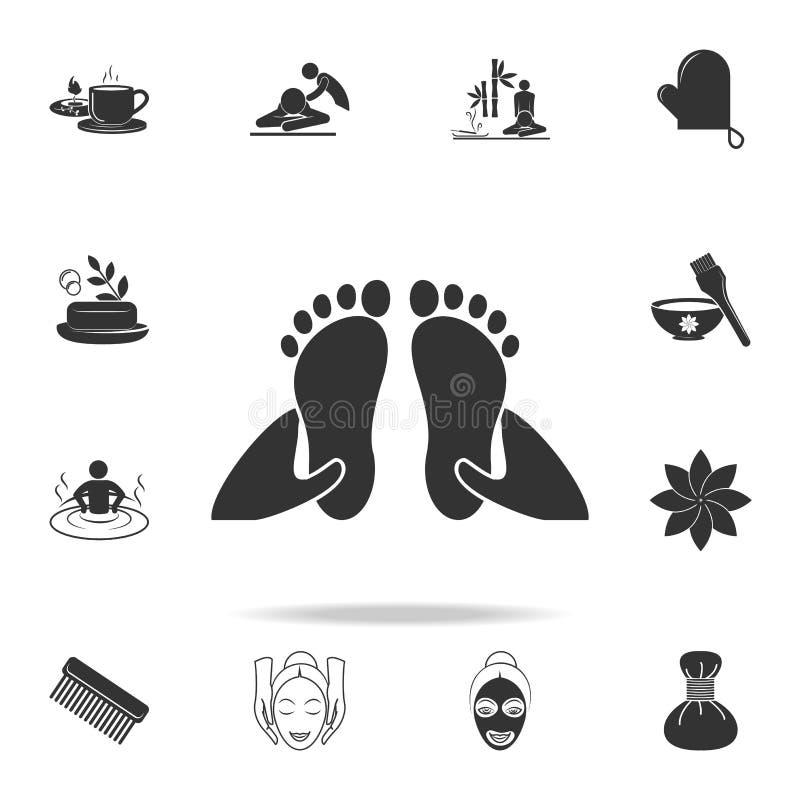 ícone da massagem do pé Grupo detalhado de ícones dos TERMAS Projeto gráfico da qualidade superior Um dos ícones da coleção para  ilustração do vetor