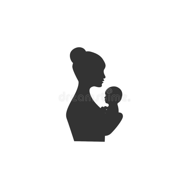 Ícone da matriz e do bebê Ilustração simples do elemento Projeto do símbolo da mãe e do bebê do grupo da coleção da gravidez Pode ilustração stock