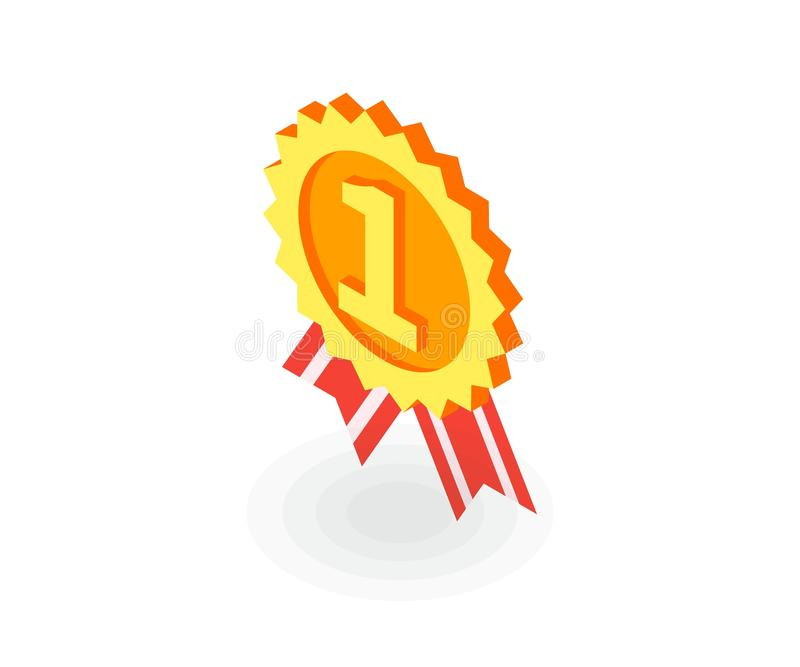 Ícone da medalha de ouro Ilustração do vetor no estilo 3D isométrico liso ilustração do vetor
