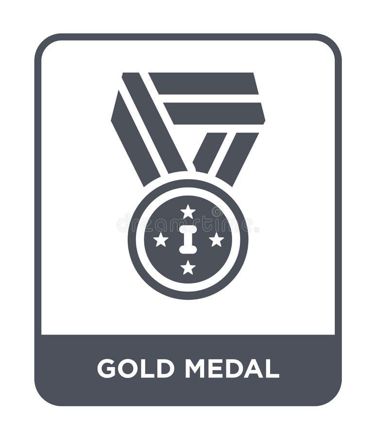 ícone da medalha de ouro no estilo na moda do projeto ícone da medalha de ouro isolado no fundo branco ícone do vetor da medalha  ilustração do vetor