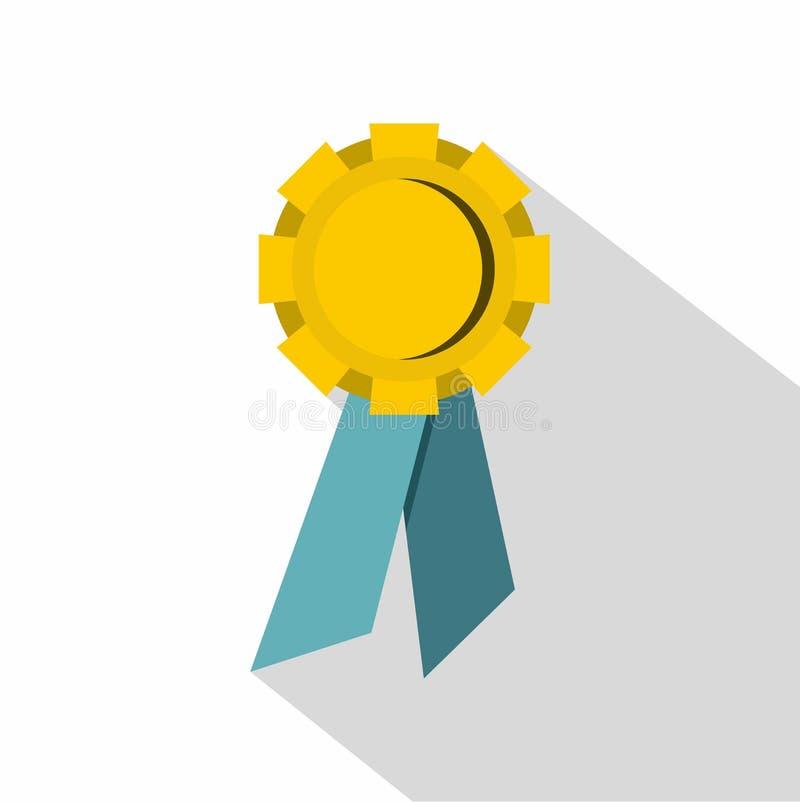 Ícone da medalha do campeão, estilo liso ilustração royalty free