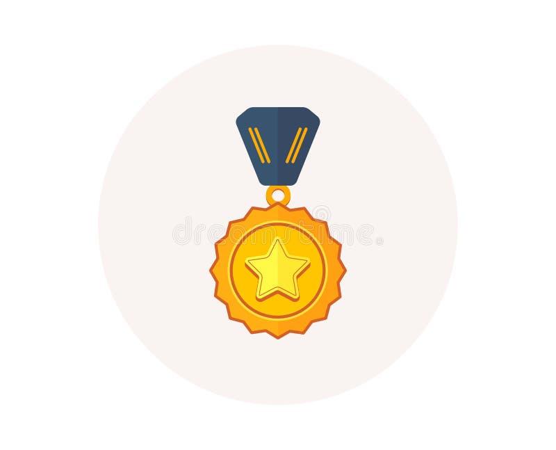 Ícone da medalha do vencedor Sinal premiado dourado Símbolo da concessão do sucesso Primeiro vencedor do lugar Vetor ilustração stock