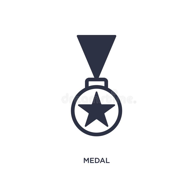 Ícone da medalha no fundo branco Ilustração simples do elemento do conceito da estratégia ilustração stock