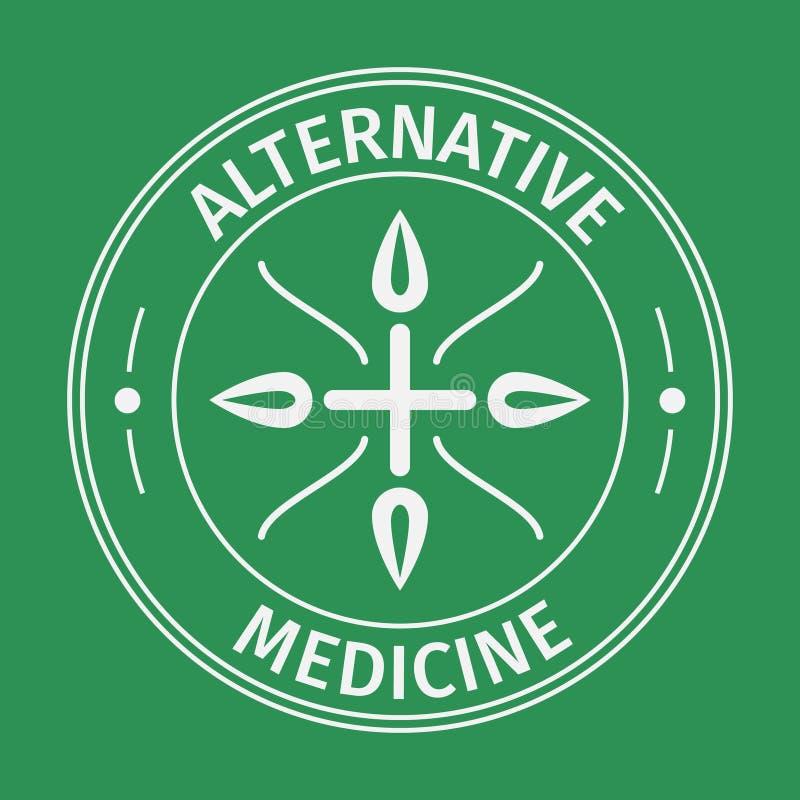 Ícone da medicina alternativa com cruz e folhas Isolado no fundo verde ilustração do vetor