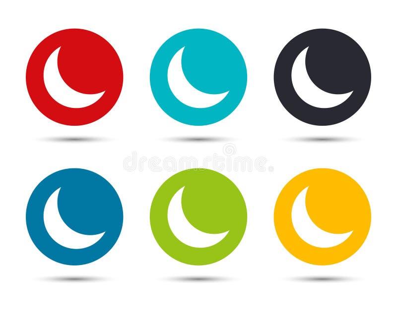 Ícone da meia-lua crescente botão redondo plano desenho da ilustração ilustração do vetor