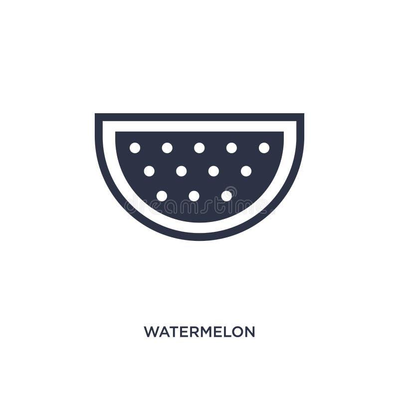 Ícone da melancia no fundo branco Ilustração simples do elemento do conceito dos frutos ilustração stock