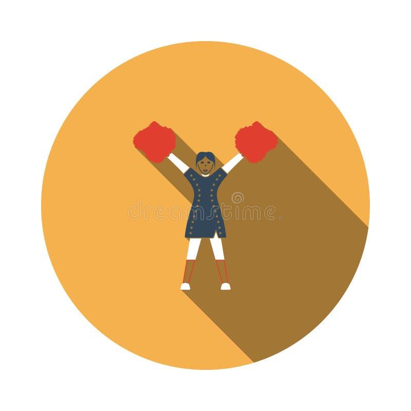 Ícone da menina do líder da claque do futebol americano ilustração royalty free