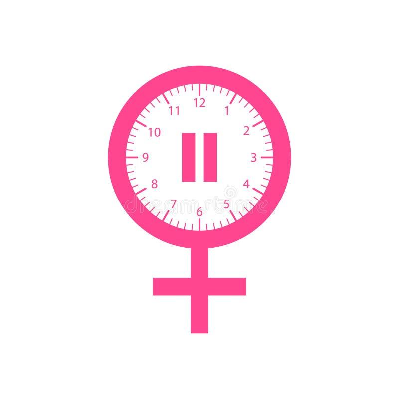 Ícone da menopausa, na cor cor-de-rosa Em um fundo branco ilustração royalty free