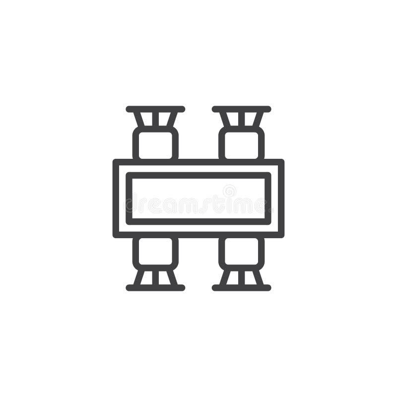 Ícone da mesa de jantar e do esboço da opinião superior das cadeiras ilustração royalty free